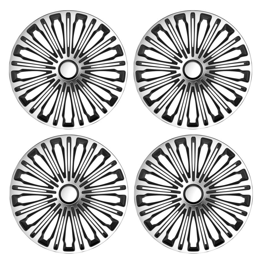 4 x radkappen radzierblenden universal 16 zoll silber schwarz set 16266 ebay. Black Bedroom Furniture Sets. Home Design Ideas